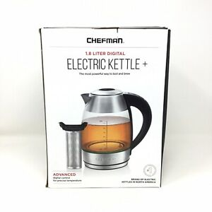 Open Box Chefman 1.8L Digital Electric Kettle PLUS, Glass Stainless Steel LED