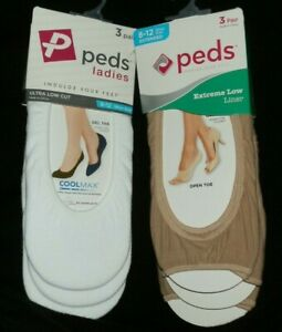 New Womens lot of 2 pack Peds Liner 3 per Pack Extended Size 8-10 Open Toe White