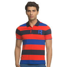 Reebok mens striped polo shirt red/blue Large