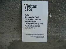 Vivitar 2600 Auto Electronic Camera Flash Owner's Manual