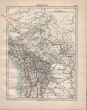 1902 MAP ~ SOUTH AMERICA BOLIVIA POTOSI COCHABAMBA SANTA CRUZ CHUQUISACA