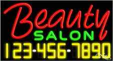 "NEW ""BEAUTY SALON"" W/YOUR PHONE NUMBER 37x20 NEON SIGN W/CUSTOM OPTIONS 15001"