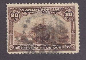 Canada 103 Used 1908 20c Yellow Brown Arrival of Cartier at Quebec Scv $225.00