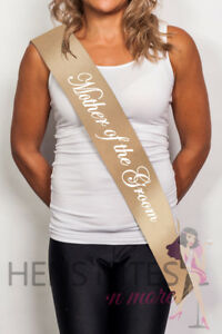 Gold Sash with White Cursive Writing - MOTHER OF THE GROOM