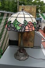 "Tiffany Style Flowers "" ROSES"" 18""Tall Stained plastic Shade & Brass Base  Lamp"