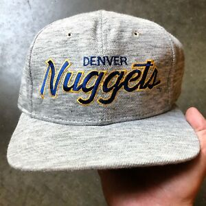 Vintage Sports Specialties Denver Nuggets Heather Gray Script Snapback Hat Cap