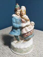 Music Box by Midwest imdustries Ice Skaters Christmas vintage