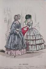 GRAVURE COULEURS LA MODE 1843-OLD FASHION PRINT XIXe SIECLE COSTUME MD54