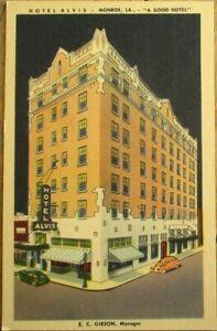 Monroe, LA 1940s Postcard: The Hotel Alvis - Louisiana