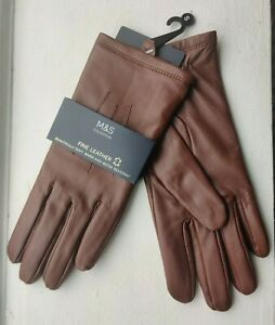 M&S Tan Soft Leather Ladies Gloves - Size Small - BNWT - Perfect Gift