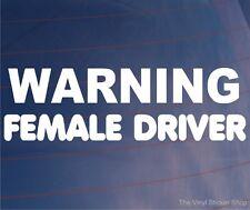 Advertencia femenina conductor Funny car/van/window / parachoques Vinilo calcomanía / etiqueta adhesiva
