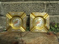 More details for pair of vintage cairoware egyptian ashtrays - mixed metal brass copper silver