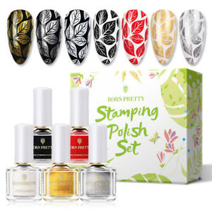 5 Bottles Set BORN PRETTY 6ml Stamping Nail Polish Black Nail Printing Polish