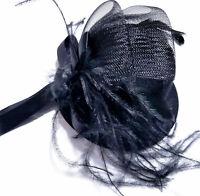 Fascinator Top Hat Hair Clip Black