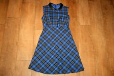 NEW! Blue tartan dress SIZE 8 pleather collar skater 50's wool look swing lined
