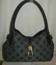 Dooney & Bourke XL Jacquard Pebbled Leather Belvedere Satchel-BLACK,GREY,BEIGE