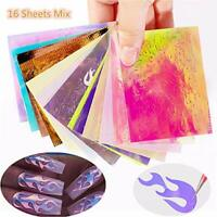 16 Pcs Holographic Fire Flame Hollow Sticker Fire Nail Art Manicure Sticker Hot*