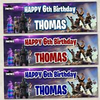 2x Fortnite DESIGN 2 160gsm Party PERSONALISED Banner Birthday Kids PC Game UK