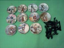 1983 Duncan Royale History of Santa Claus 11 Miniature Plates Set Stands & Boxes