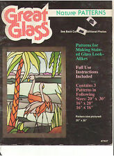 STAINED GLASS 3 PATTERNS BOOK NATURE SERIES FLAMINGOS LIONS SEAHORSE OOP