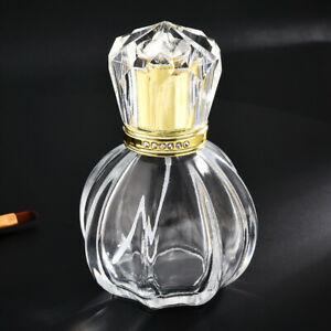 50ml Empty Oval Glass Perfume Spray Bottle Crystal Cap Gold