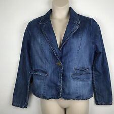 FADED GLORY Wmn's Blue Denim Jacket w/ one button closure & tiny ruffle trim 18