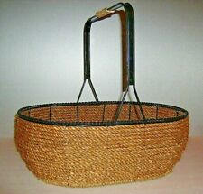 "Vintage Large Woven Rope & Wrought Iron Gathering Basket 15"" long x 11"" tall."