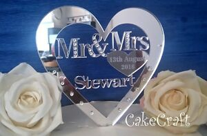 Mirrored Acrylic Personalised Wedding cake topper decorations with crystals