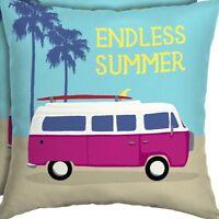 """Endless Summer Outdoor Pillow Surf Beach Van Aqua Indoor Outdoor Pillows 16"""""""