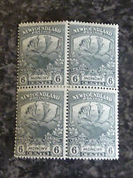 NEWFOUNDLAND POSTAGE STAMPS SG135 6C BLOCK OF 4 SLATE GREY UN-MOUNTED MINT