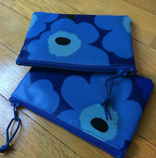 "Handmade Blue Mini Unikko OIL CLOTH fabric 5x3.5"" coin purse,  Marimekko Finland"