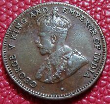 1916 Straits Settlements QUART (1/4) Cent Coin 1 année émission (034)