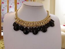 Brand new  stunning gold collar necklace with black stones and clear crystals