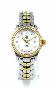 LADIES TAG HEUER LINK DATE WJF1354 DIAMOND BEZEL WRISTWATCH STAINLESS 18K BOX