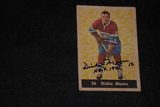 HOF DICKIE MOORE 1961-62 PARKHURST SIGNED AUTOGRAPHED CARD #36 CANADIENS