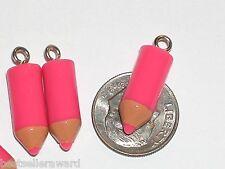 1pc little miniature Pink Crayon Pencil candy charm necklace bracelet pendant *~