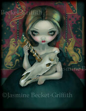 Jasmine Becket-Griffith art print SIGNED Unicorn's Ghost goth skull tapestry