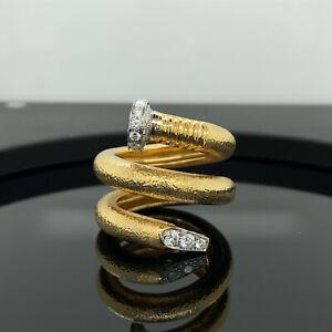 David Webb Hammered Gold Platinum Diamond Nail Wrap Ring New $7400