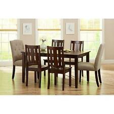 7 Piece Dining Set Beige Upholstered Fabric and Wood Chairs Espresso Table