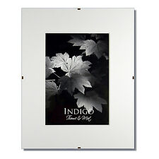Set of 10 - 11x14 Glass & Clip Frames, Single White Mats for 8x10