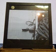 Antique Glass slide Merchant Ship Moored Panama lowering lifeboat .1930's