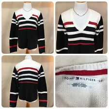 Tommy Hilfiger VTG 90s Sz. L Red White Blue Striped Sweater V Neck LS Women's