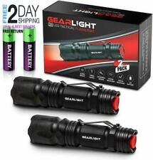 GearLight M3 LED Tactical Flashlight [2 PACK] with Belt Clip, Batteries Included