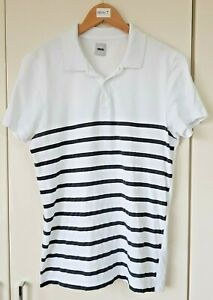 Men's ASOS T-Shirt White Size Small Striped Collared Short Sleeve Casual, Used