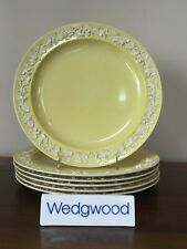 Antique Wedgwood Embossed YELLOW QUEEN'S WARE Dinner Plate c.1919 ~ Set of 6