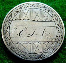 1861 Civil War Silver Seated Liberty Quarter Love Token Initials 'E.J.G.] Nice!