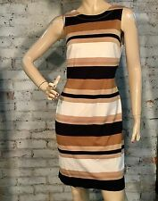 BANANA REPUBLIC PONTE DRESS 6 (M) SHEATH KNIT MULTI STRIPE TAN GOLD IVORY BLACK