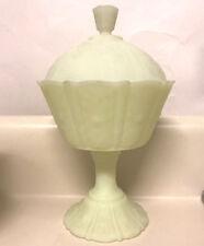 Fenton Satin Custard Candy Jar Paneled Daisy Art Glass Glows UV Green