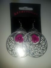 Silver Costume jewellery Drop Earrings With Rose