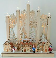LUMIDA Xmas Holzdekoration festlicher Kerzenbogen Timerfunktion ca. 45x11x49cm
